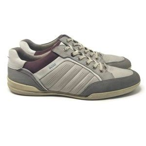 Ecco Leather Sneakers Taupe Gray EU 45 US 11/11.5